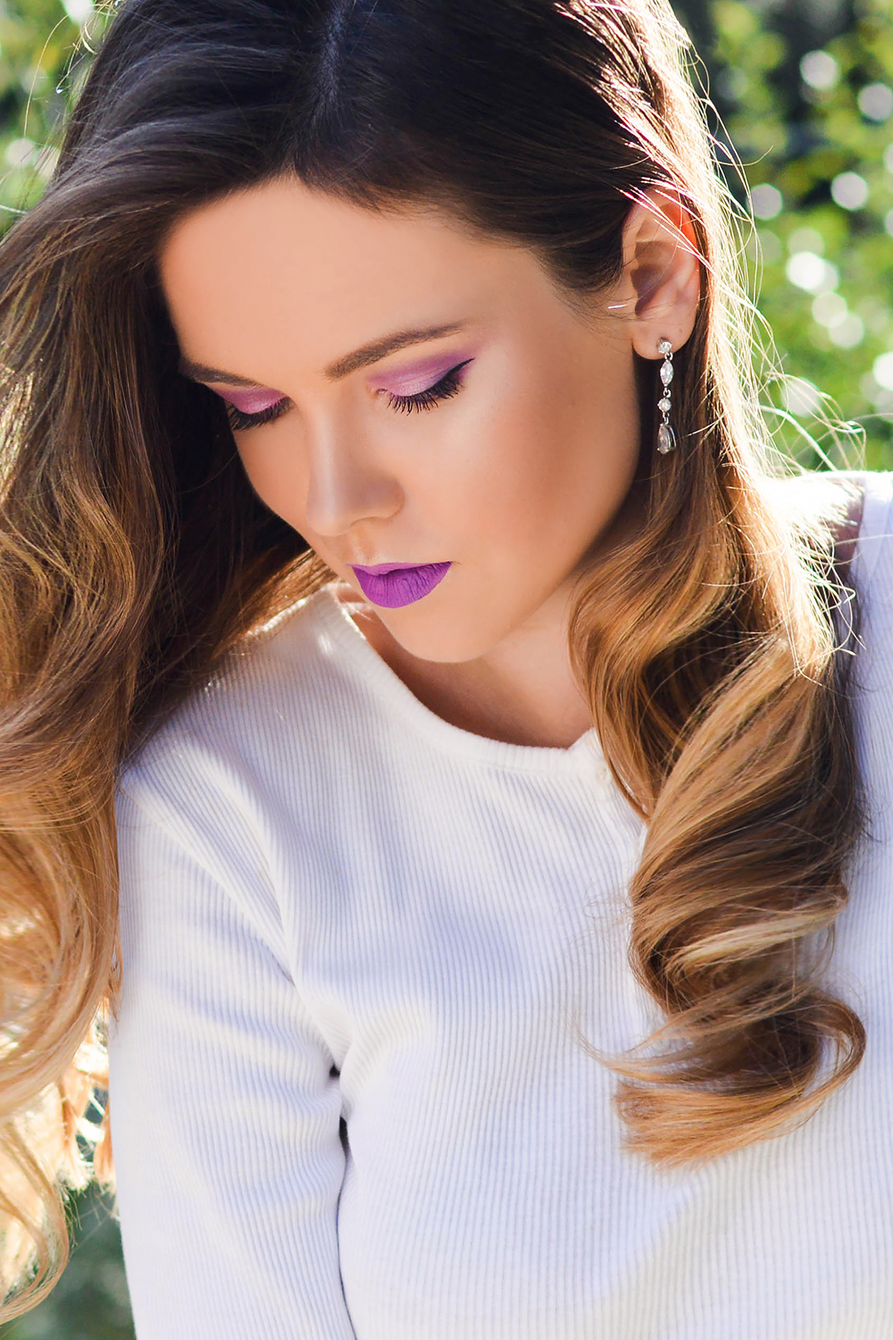 White on white with a Pop of Purple by Tamara Bellis